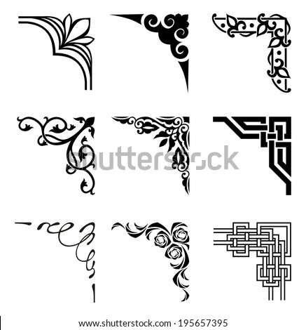 set of ornamental corners in different style - stock vector