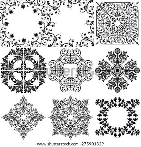 Set of 9 Ornamental Design Elements - stock vector