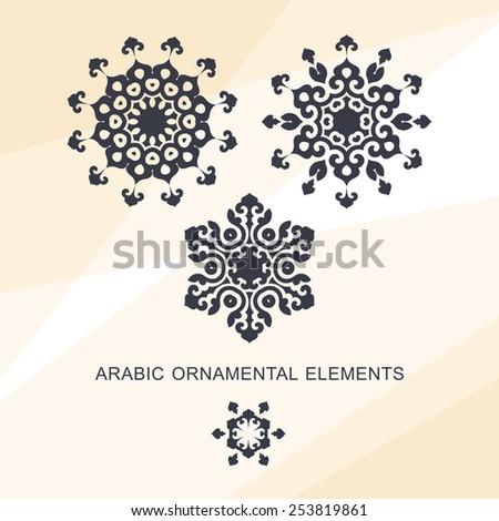 Set of ornamental elements in oriental style. Circular design - stock vector