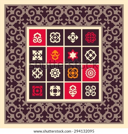 Set of ornamental elements in oriental style. Islam, Arabic, Asian motifs. Decorative details for patterns. Square border frame - stock vector