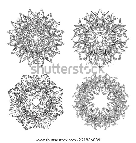 Set of ornamental ethnic round mandalas. Vector patterns. - stock vector