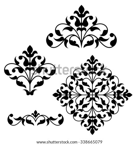 Set of ornamental floral elements for design in vintage stile. - stock vector