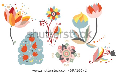 Set of ornamental flowers - stock vector