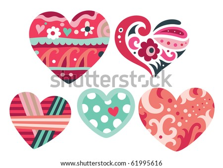 Set of ornamental hearts with cute colors. - stock vector