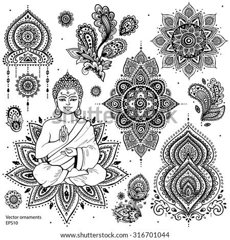 Set Ornamental Indian Elements Symbols Stock Vector 2018 316701044