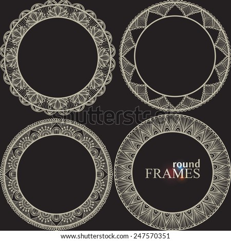 set of ornamental round frames - stock vector