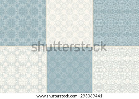 Set of ornamental seamless patterns with traditional Arabic ornaments. Background in Islamic style. Vector abstract texture.  - stock vector