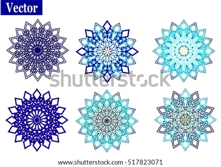 set of ornamentation composite snowflakes. Vector illustrations