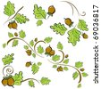 set of ornaments made of oak leaves and acorns. Vector illustration - stock vector