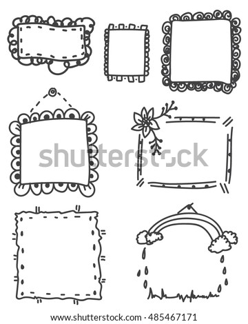 Set Ornate Black Picture Frames Isolated Stock Vector 485467171 ...