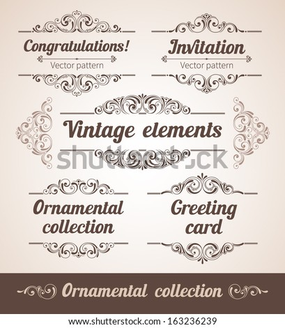 Set of ornate frames with vintage elements for invitation, congratulation and greeting card