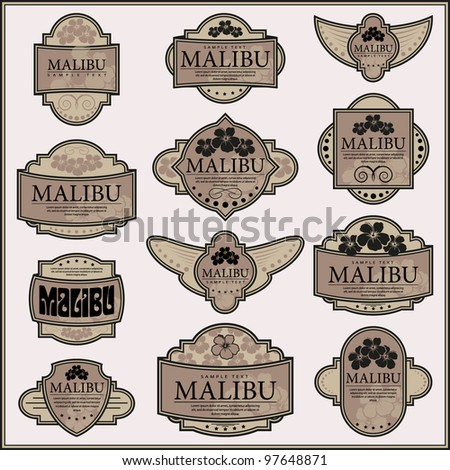Set of ornate labels. Grouped for easy editing. Perfect for labels or stickers for wine, tea, coffee, soap, beer, powder, cologne and etc. - stock vector