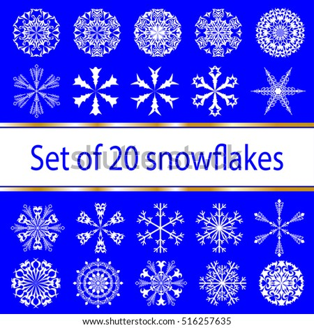 Set of ornate snowflakes, geometric and free decorative forms in white on a blue background. The design for the new year holiday, Christmas. Winter characters. vector.