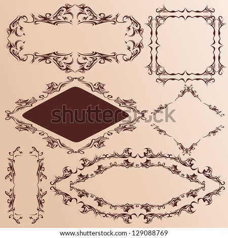 Set of ornate vector frames and ornaments with sample text - stock vector