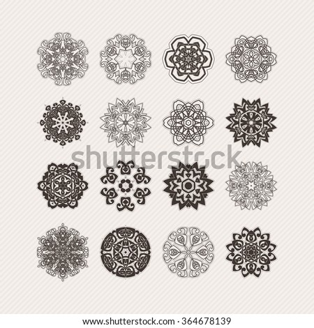 Set of ornate vector mandala symbols. Gothic lace tattoo. Celtic weave with sharp corners. The circular pattern. - stock vector