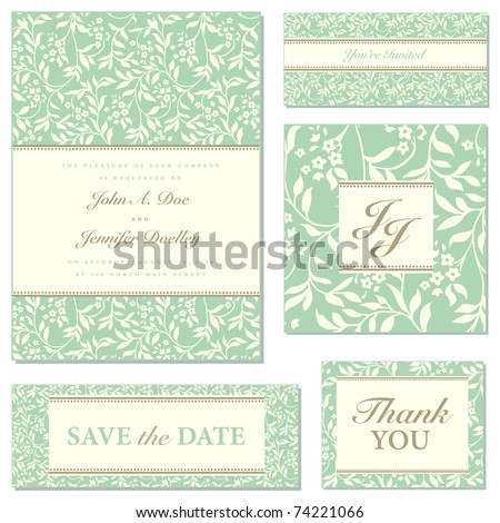 Set of ornate vector wedding frames. Easy to edit. Perfect for invitations or announcements. - stock vector