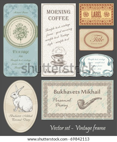 set of ornate vintage frame - stock vector