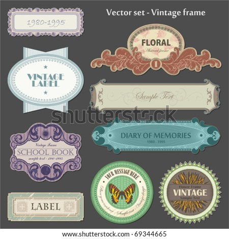 set of ornate vintage labels - stock vector