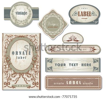 set of ornate vintage labels - stock vector