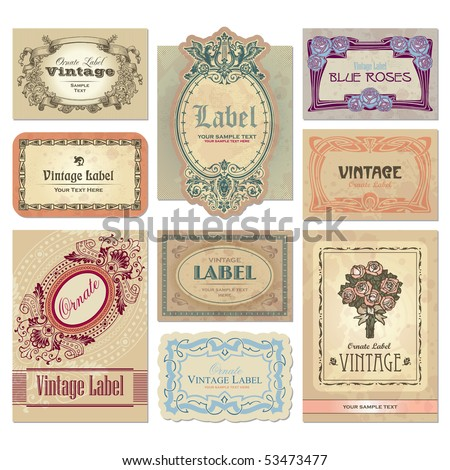 Set of 9 ornate vintage labels, vector illustration. Old fashioned backgrounds with typography. Engraving style ornaments and frames. Retro elements for your design.