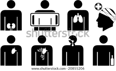 Set of out-patients' clinic symbols for signs, web icons, labels etc. - stock vector