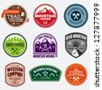 Set of outdoor adventure and expedition logo badges - stock photo