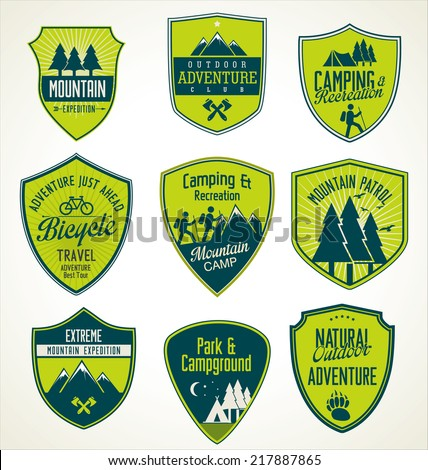 Set of outdoor adventure blue and green retro badges - stock vector