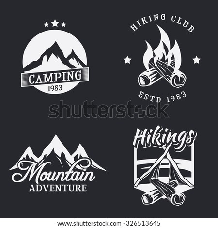 Set of outdoor camping icons. Mountain adventure badge. Hiking labels and emblems. Campfire sign. Vector illustration. - stock vector