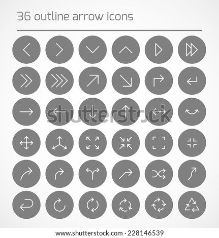 Set of outline arrow icons on gray circles. Vector illustration - stock vector