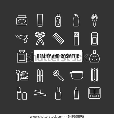 Set of outline beauty and cosmetic icons. Linear icons for print, mobile apps, web design