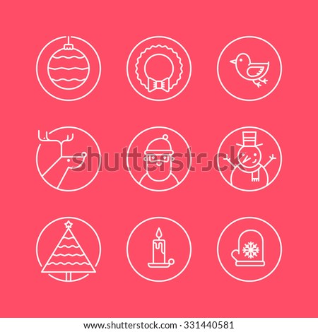 Set of outline circle icons with traditional Christmas signs and symbols. Santa, reindeer, X-Mas tree, mistletoe, snowman