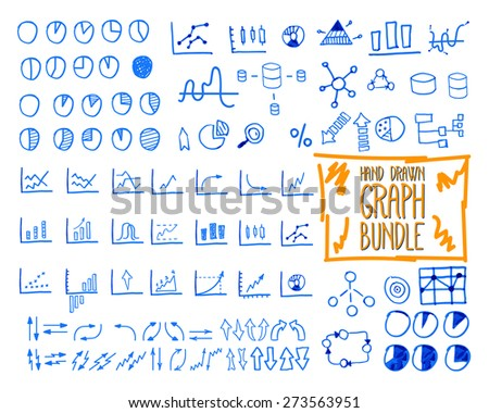 Set of outline doodle, sketched, hand drawn business management infographics elements, icons, arrows, charts, pies, analytic and statistic symbols. Isolated on white background. Vector illustration - stock vector