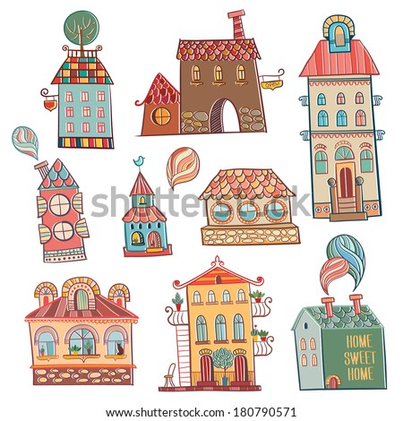 set of outline hand drawn buildings in vintage style. Vector illustration. - stock vector