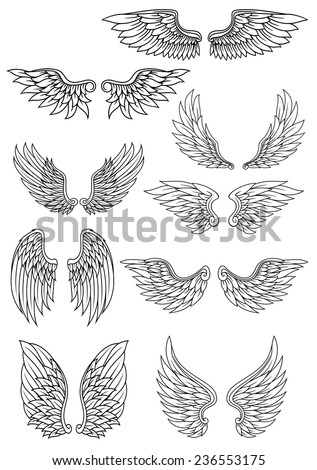 Set of outline heraldic wings in black and white with feather detail for use in heraldry and religion design - stock vector