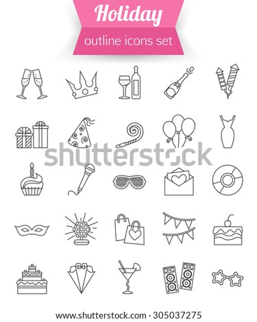 Set of outline holiday and party icons. Champagne, fireworks, cake, gift box dress. Vector illustration - stock vector