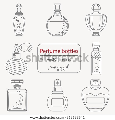 Set of outline perfume bottle icons. Can use for design wrapping paper packaging, scrap-booking, sites and perfume shops