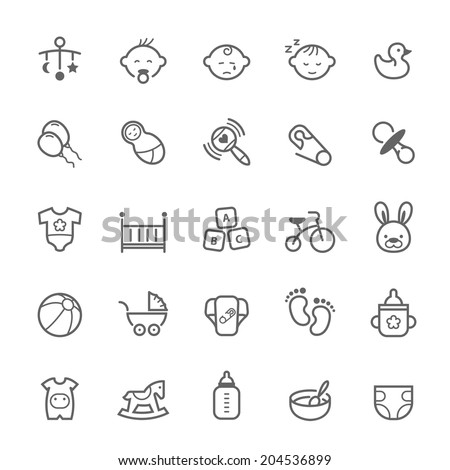 Set of Outline stroke Baby icon Vector illustration - stock vector