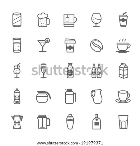 Set of Outline Stroke Beverage icon Vector illustration - stock vector