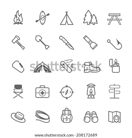 Set of Outline stroke Camping icons Vector illustration - stock vector