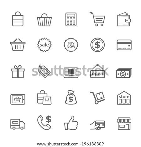 Set of Outline stroke Shopping icons Vector illustration - stock vector