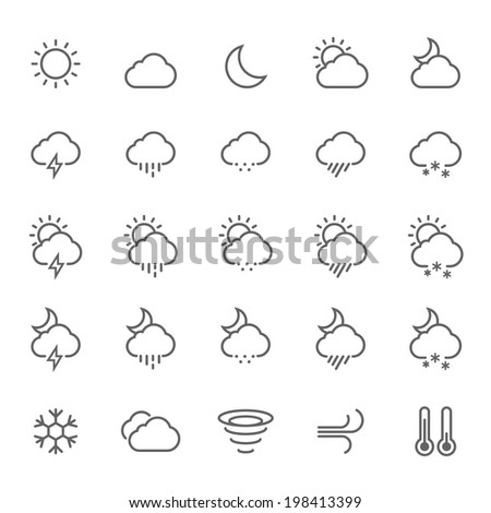 Set of Outline Stroke Weather Icons Vector Illustration