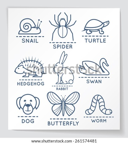 Set of outline style animals. EPS10. - stock vector