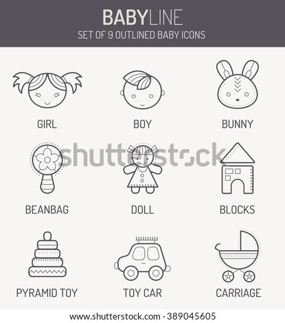 Set of outlined baby icons (smiling children, kid's toys and stuff) in linear style. Monochrome, isolated on white background - stock vector