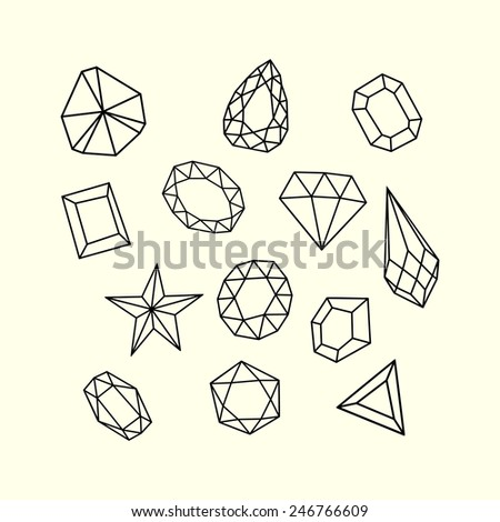 Set of outlined gem stones and crystals.