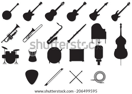 Set of outlines of many different music instruments. - stock vector