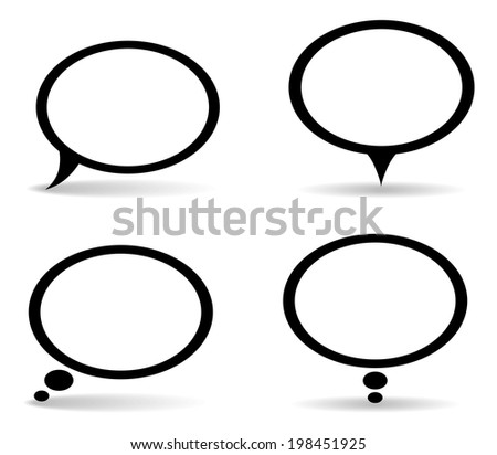 set of 4 oval dialog bubbles with shadow