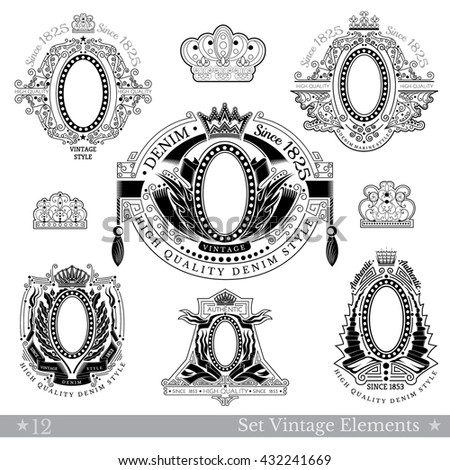 Set Of Oval Frame With Different Pattern Around Isolated On White - stock vector