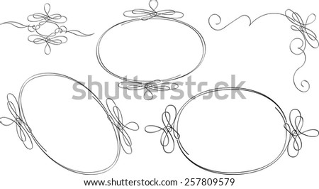 Set of oval outline frames and decorative elements.  - stock vector