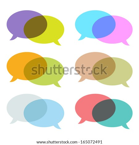 Set of overlapping colorful speech bubbles. - stock vector