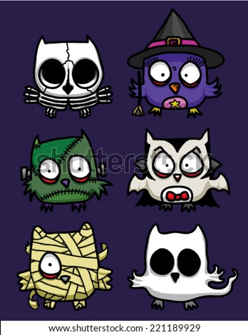 Set of 6 owl dressed as cute Halloween monster. - stock vector